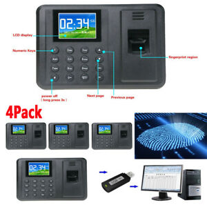 4x Biometric Fingerprint Attendance Time Clock Employee Payroll Recorder Tcp Ma