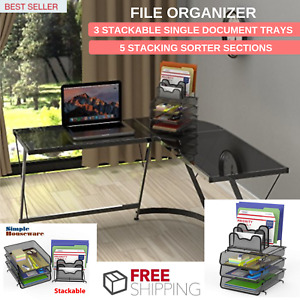 File Organizer W 3 Stackable Single Document Trays 5 Stacking Sorter Sections
