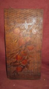 Antique Pyrography Panel Depicting Apples Arts And Crafts Period