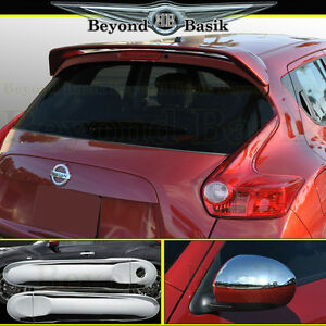 For 11 14 Nissan Juke Spoiler Door Handle Covers Ns Half Chrome Mirrors Overlays