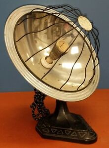 Vintage Samson Electric Cone Heater Lamp With Art Deco Cast Iron Base Works