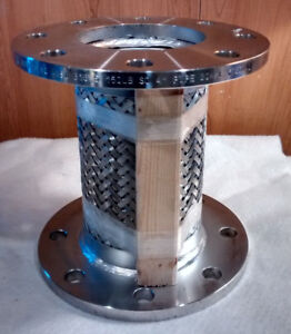 Flanged Flexible Braided Expansion Joint 304 Stainless Steel 4 Dia 9 L 150lb