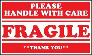 Amz Warning Labels 5 X 3 1 Roll Of 500 Fragile Please Handle With Care