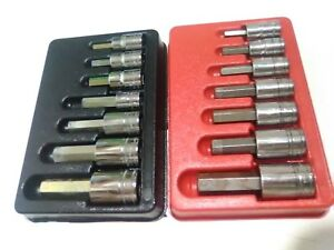 Snap on Tools 1 2 Drive Metric Sae Hex Bit Standard Socket Driver Set 14pc Us