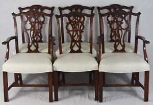 Set 6 Bernhardt Mahogany Chippendale Dining Room Chairs Leather Upholstery