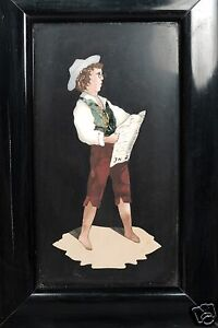 Fine Pietra Dura Plaque Of Young Man Reading A Newspaper Unusual Subject Vr