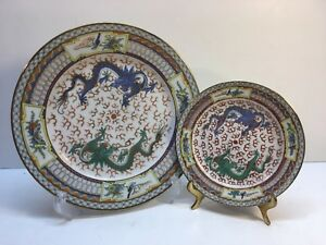 Chinese Hand Painted Double Dragon Plate And Side Dish Both Are Signed 9