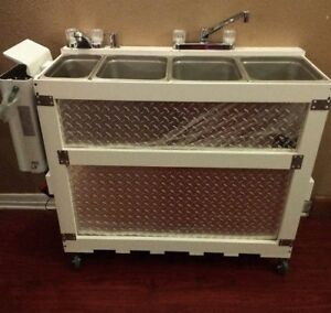 Large Portable Propane Or Electric Concession Sink 3 Compartment 1 Hand Wash