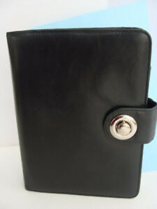 Franklin Covey classic Full Grain Black Leather Planner Binder 1 25 Rings guc