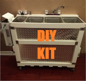 Diy Large Portable Concession Sink Kit 3 Compartment 1 Hand Wash Propane