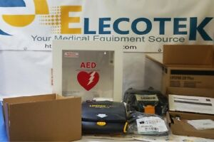 New Open Box Physio Control Lifepak Cr Plus Aed Fully automatic With Alarmed Cab