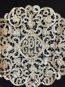 Set Of 3 Fine Ornate Monogramed French Brussels Hand Done Lace Point De Gaze