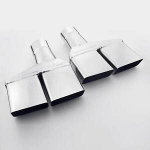 2 5 Inlet Quad Exhaust Tips Dual Square Slant Cut Single Wall Stainless Steel
