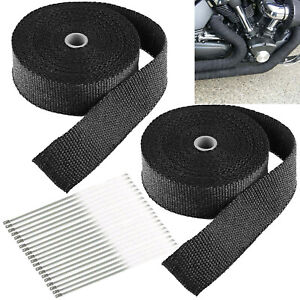 2 Roll X 2 50ft Black Exhaust Wrap Header Manifold Fiberglass Heat Wrap Tape
