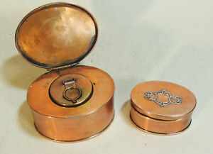 Antique Sterling Bronze Copper Arts Crafts Nouveau Metal Inkwell Stamp Box
