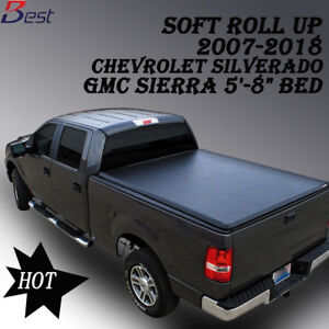Soft Vinyl Roll up Tonneau Cover Fit 07 18 Silverado sierra 5 8 Short Bed Us