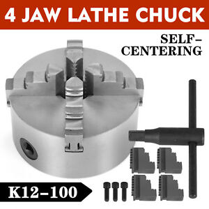 4 Lathe Chuck K12 100 4 Jaw Self Centering Precision Cast Iron Wood Turning