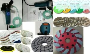 Variable Speed Stone Wet Dry Polisher 48 Polishing Pad Cup Granite Marble Slate