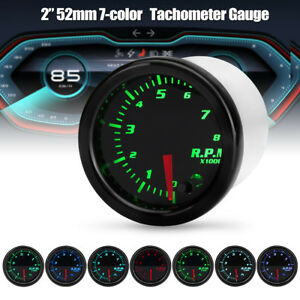 Universal 2 52mm 7 Color Led Car Motor Rpm Tacho Tachometer Gauge Meter Pointer