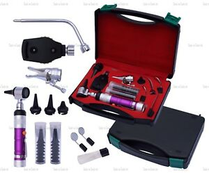 Purple Veterinary Otoscope Ophthalmoscope Diagnostic Kit Ent Surgical Instrument