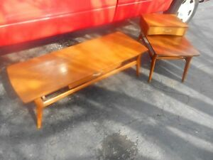 Awesome 1960 S 2 Pc Midcentury Danish Modern Mersman Coffee Table Side Table Set
