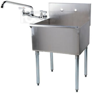 24 X 24 X 14 With Faucet Stainless Steel Commercial Utility Sink Prep Laundry