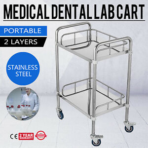 Hospital Stainless Steel Two Layers Serving Medical Dental Lab Cart Trolley Gt