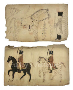 Outstanding C1820s Antique American Folk Art Drawings Horses Mounted Soldiers