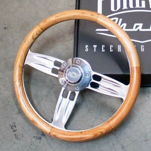 14 Polished Light Oak Wooden Steering Wheel Chevy 5 hole Horn Button