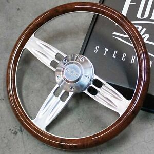 14 Polished Burlwood Wrap Steering Wheel Chevy Horn Button 5 hole