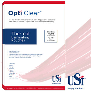 Opti Clear Thermal hot Laminating Pouches Menu Size 10 Mil 12x18 50 Pouches