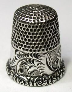 Antique Ketcham Mcdougall Sterling Silver Thimble Palmette Young Fern C1900s