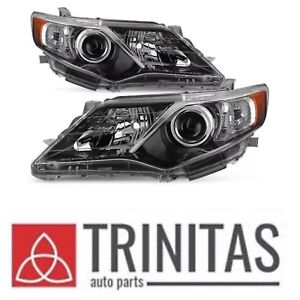 New Set 2012 2014 Camry Black Headlights Headlamps Lh Driver Rh Passenger 2013