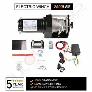 Atv Utv Winch 2500lbs Utv Electric Winch Steel Cable Offroad Remote Control 12v
