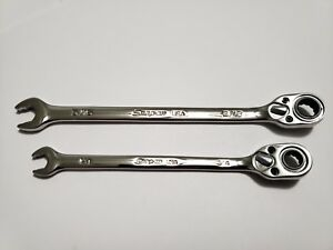 Add On Snap on 12pt Sae 1 4 5 16 Flank Drive Plus Reversible Ratchet Wrenches