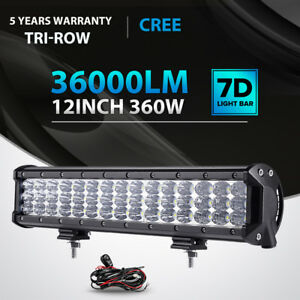 7d Tri Row 12inch 360w Led Light Bar Spot Flood Offroad 4wd For Jeep Truck 14