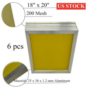 Usa 6pcs 18 X 20 Aluminum Screen Printing Frames With 200 Yellow Mesh Count