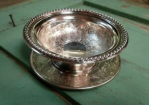 Vintage Silverplate Etched Bowl Candy Dish With Underplate Epbm England G4721