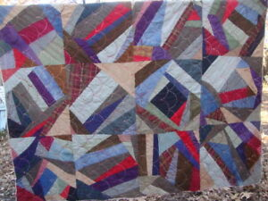 Antique Crazy Quilt Patchwork Wool Cotton Plaid Fabrics 64 X 84 Hand Stitched