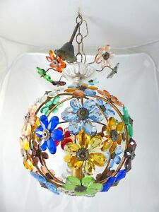Vintage French Colored Flower Prisms Maison Bagues Antique Chandelier Murano