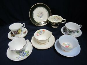 Mixed Lot Vtg Mid Century Mad Hatter Tea Party Set 6 Cups Saucers Lot B3