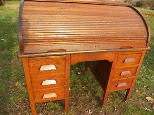 48 Antique Oak Roll Top Desk 9 Drawers Vintage Computer Home Office Student