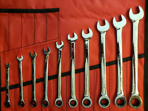Craftsman 10 Pc Sae Full Polish Combination Ratcheting Wrench Set W tool Roll