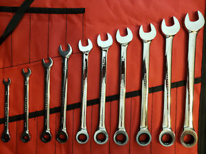 Craftsman 10 Pc Metric Full Polish Combination Ratcheting Wrench Set W Tool Roll