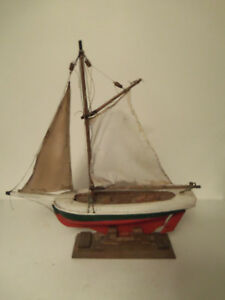 Antique Wooden Sailboat Pond Boat Ship Model With Lead Weight 21 Long