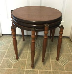 Vintage Mid Century Danish Modern Round Nesting Stacking Tables Set Tripod Stand