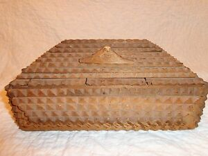 Antique Early Wooden Tramp Art Box Folk Art