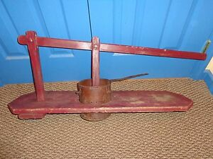 Unique Antique Counter Top Wooden Tin Fruit Meat Press Primitive Works