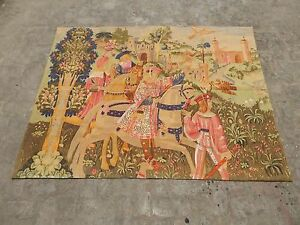 Belgian Beautiful Medieval Departure For The Hunt Tapestry 184x138cm A1286