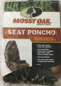 Mossy Oak Camo Hunting Disposable Universal Car Truck Seat Poncho Cover New Bx38